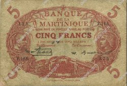 5 Francs Cabasson rouge 1901 MARTINIQUE  1929 P.06A B