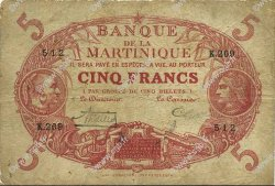 5 Francs Cabasson rouge 1901 MARTINIQUE  1932 P.06A B