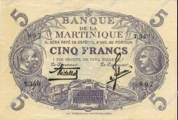 5 Francs Cabasson violet MARTINIQUE  1934 P.06 SUP+