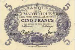 5 Francs Cabasson violet MARTINIQUE  1946 P.06 SPL