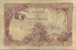 100 Francs MARTINIQUE  1930 P.13 B à TB