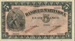 5 Francs MARTINIQUE  1942 P.16s pr.NEUF