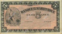 5 Francs type américain MARTINIQUE  1942 P.16s SUP+