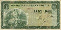 100 Francs MARTINIQUE  1944 P.19a TTB