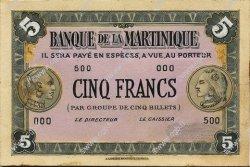 5 Francs type américain, projet MARTINIQUE  1943 P.- SUP