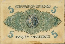5 Francs MARTINIQUE  1943 P.- SUP