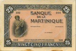 25 Francs type américain, projet MARTINIQUE  1943 P.- SUP