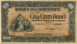 500 Francs MARTINIQUE  1943 P.- SUP