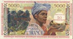 50 NF sur 5000 Francs antillaise MARTINIQUE  1960 P.40 SUP