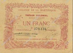 1 Franc MARTINIQUE  1884 P.02 SUP