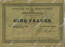5 Francs MARTINIQUE  1885 P.04B pr.TTB