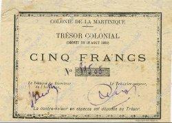 5 Francs MARTINIQUE  1895 P.04 TTB+