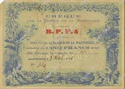 5 Francs Cabasson bleu MARTINIQUE  1878 P.05B SUP