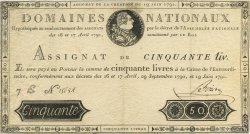50 Livres FRANCE  1791 Laf.138 TTB+