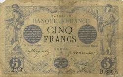5 Francs NOIR FRANCE  1874 F.01.25 B à TB