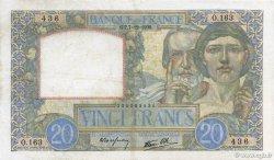 20 Francs SCIENCE ET TRAVAIL FRANCE  1939 F.12.01 pr.TTB