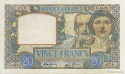 20 Francs SCIENCE ET TRAVAIL FRANCE  1941 F.12.15 TTB+