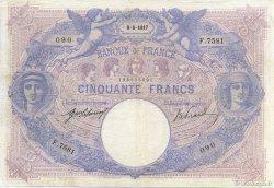 50 Francs BLEU ET ROSE FRANCE  1917 F.14.30 TB+