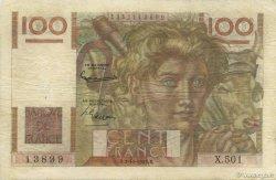 100 Francs JEUNE PAYSAN filigrane inversé FRANCE  1952 F.28bis.01 TB+