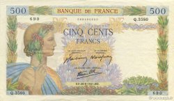 500 Francs LA PAIX FRANCE  1941 F.32.21 SUP