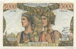 5000 Francs TERRE ET MER FRANCE  1953 F.48.09 pr.SPL