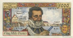 5000 Francs HENRI IV FRANCE  1957 F.49.04 SUP+