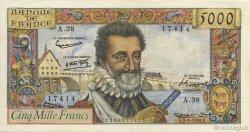 5000 Francs HENRI IV FRANCE  1958 F.49.05 TB+