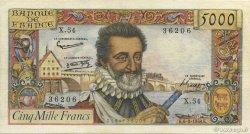 5000 Francs HENRI IV FRANCE  1958 F.49.06 pr.TTB