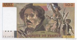 100 Francs DELACROIX imprimé en continu FRANCE  1990 F.69bis.01a NEUF