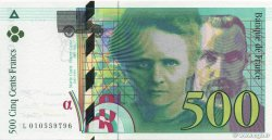 500 Francs PIERRE ET MARIE CURIE FILIGRANE COUPÉ EN DEUX FRANCE  1994 F.76qui.01 NEUF