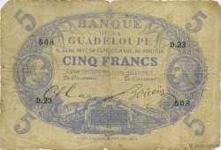 5 Francs bleu, type 1874 GUADELOUPE  1891 K.101c B à TB