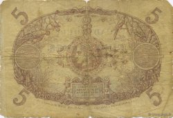 5 Francs bleu, type 1874 GUADELOUPE  1891 P.06 B à TB