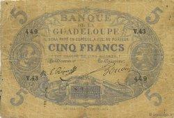 5 Francs Cabasson bleu GUADELOUPE  1897 P.06 pr.TB