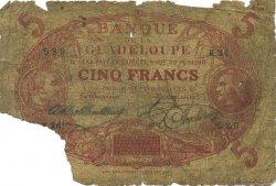 5 Francs Cabasson rouge GUADELOUPE  1922 P.07- AB