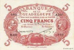 5 Francs rouge, type 1874 modifié 1901 GUADELOUPE  1934 P.07c SUP à SPL