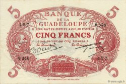5 Francs Cabasson rouge GUADELOUPE  1945 P.07e SUP
