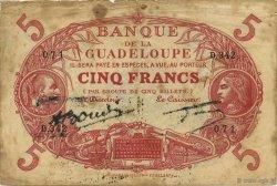 5 Francs rouge, type 1874 modifié 1901 GUADELOUPE  1945 K.102r TB