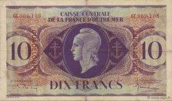 10 Francs, type Anglais GUADELOUPE  1944 K.124 pr.SUP