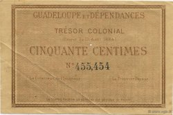 50 Centimes GUADELOUPE  1884 P.01r SUP