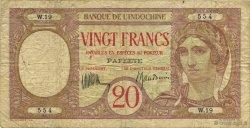 20 Francs TAHITI  1928 KM.510b TB+