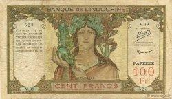 100 Francs TAHITI  1952 P.14b TB+