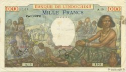 1000 Francs TAHITI  1954 P.15b TB+