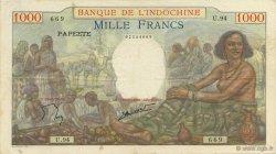 1000 Francs TAHITI  1957 P.15c TTB
