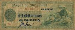 100 Francs TAHITI  1943 KM.519f TB