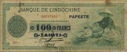 100 Francs TAHITI  1943 KM.519var TB+