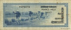1000 Francs TAHITI  1954 P.22 TB+
