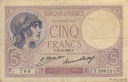5 Francs VIOLET FRANCE  1929 F.03.13 TB+