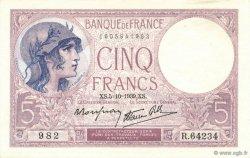 5 Francs VIOLET modifié FRANCE  1939 F.04.11 pr.NEUF