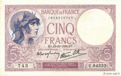 5 Francs VIOLET modifié FRANCE  1939 F.04.12 NEUF