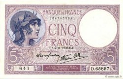 5 Francs VIOLET modifié FRANCE  1939 F.04.14 pr.NEUF
